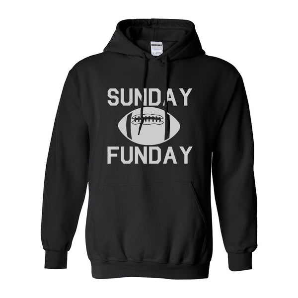 Sunday Funday Football Black Womens Pullover Hoodie