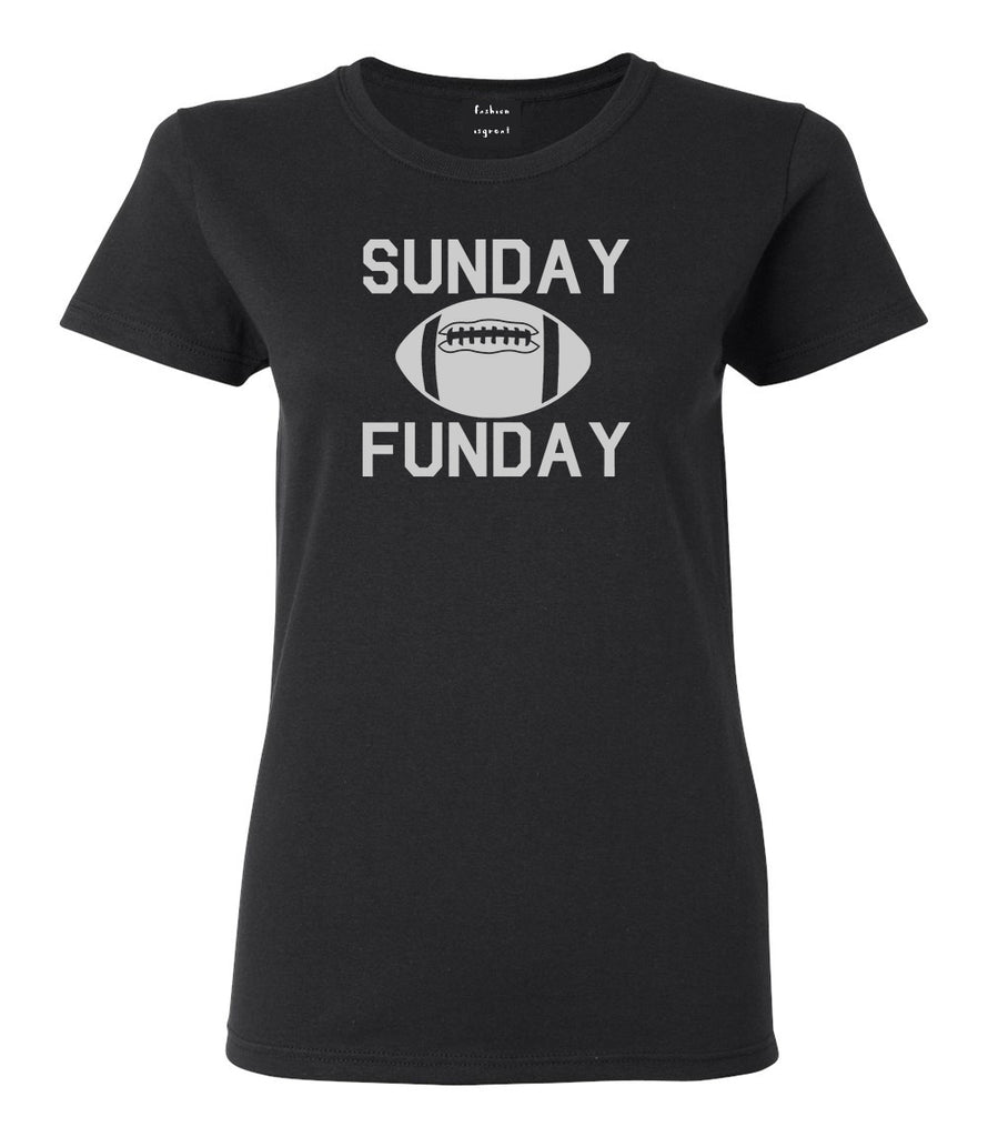 Sunday Funday Football Black Womens T-Shirt