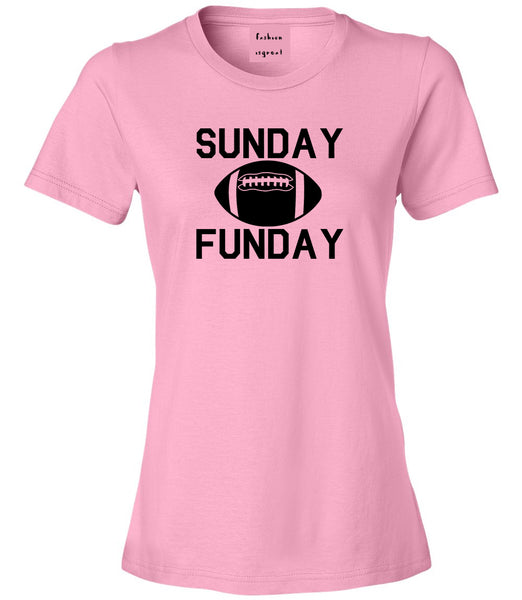 Sunday Funday Football Pink Womens T-Shirt