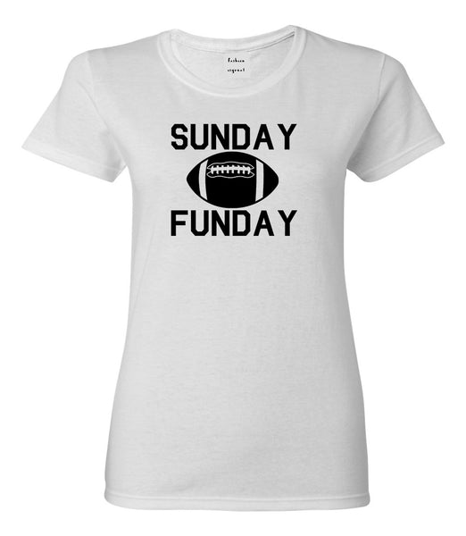 Sunday Funday Football White Womens T-Shirt