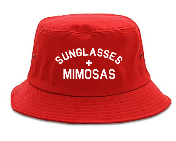 Sunglasses And Mimosas Vacay red Bucket Hat