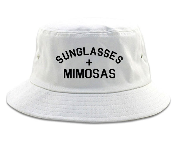 Sunglasses And Mimosas Vacay white Bucket Hat