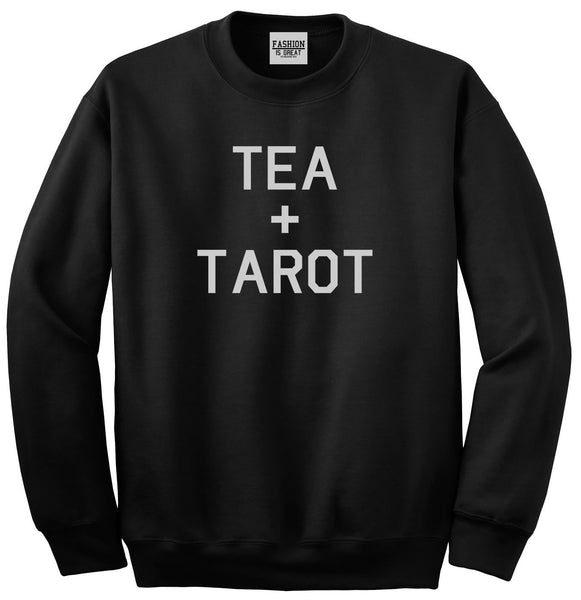 Tea And Tarot Cards Black Womens Crewneck Sweatshirt