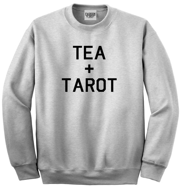 Tea And Tarot Cards Grey Womens Crewneck Sweatshirt