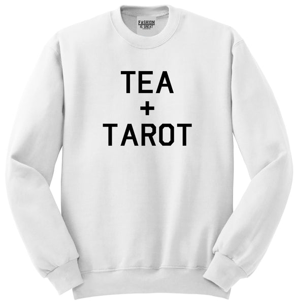 Tea And Tarot Cards White Womens Crewneck Sweatshirt