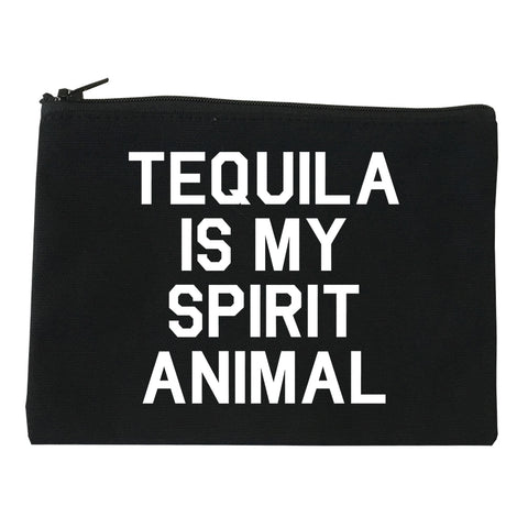 Tequila Is My Spirit Animal Black Makeup Bag
