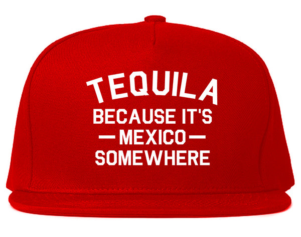 Tequila Its Mexico Somewhere Red Snapback Hat