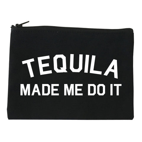 Tequila Made Me Do It Funny Vacation Black Makeup Bag