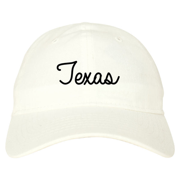 Texas TX Script Chest white dad hat