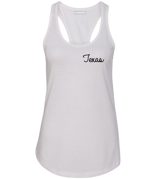Texas TX Script Chest White Womens Racerback Tank Top