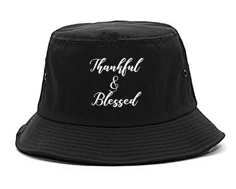 Thankful And Blessed Black Bucket Hat