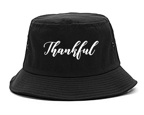 Thankful Script Thanksgiving Black Bucket Hat