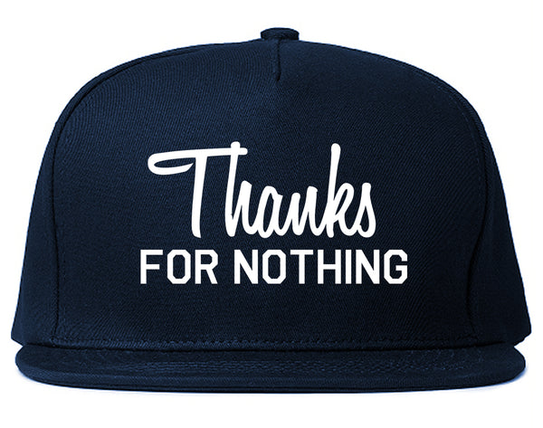 Thanks For Nothing Snapback Hat Blue