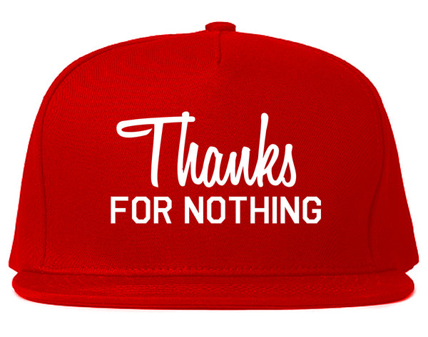 Thanks For Nothing Snapback Hat Red