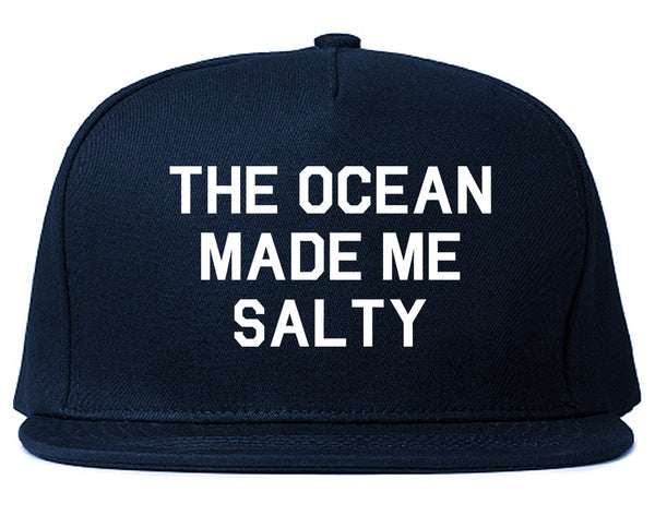 The Ocean Made Me Salty Vacation Snapback Hat Blue