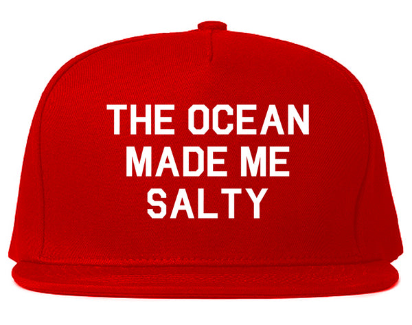 The Ocean Made Me Salty Vacation Snapback Hat Red