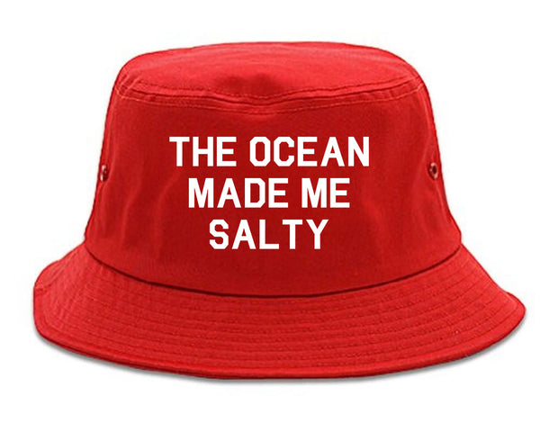 The Ocean Made Me Salty Red Bucket Hat
