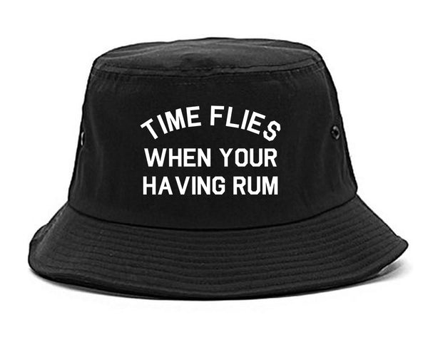 Time Flies When Your Having Rum Funny Bucket Hat Black