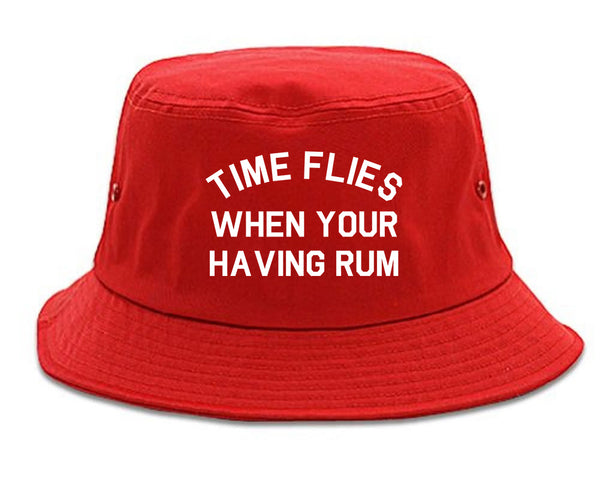 Time Flies When Your Having Rum Funny Bucket Hat Red