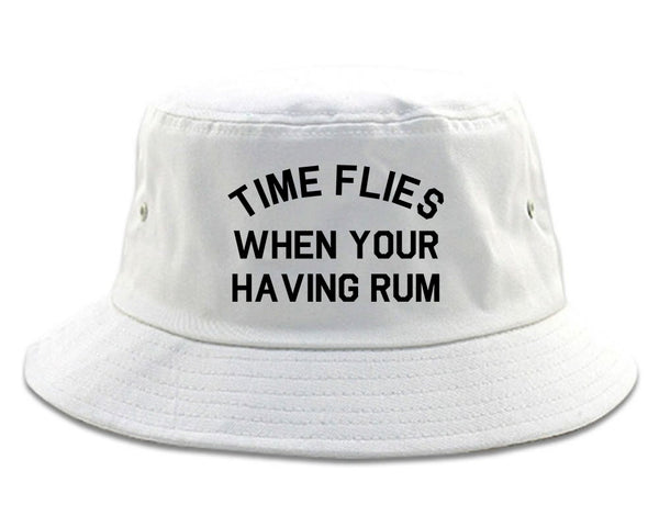 Time Flies When Your Having Rum Funny Bucket Hat White