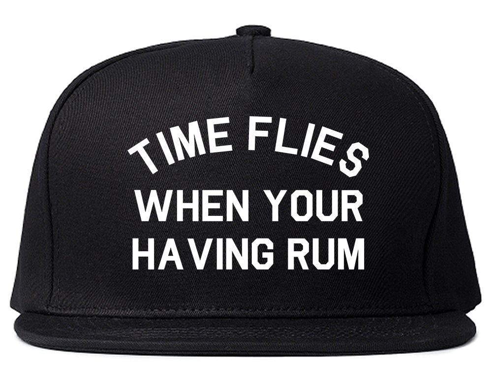 Time Flies When Your Having Rum Funny Snapback Hat Black