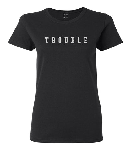 Trouble Womens Graphic T-Shirt Black