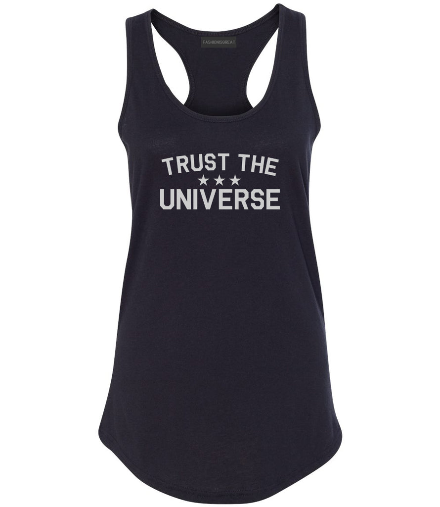 Trust The Universe Mantra Womens Racerback Tank Top Black