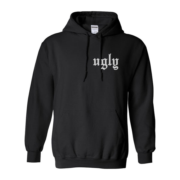 Ugly Olde English Chest Black Womens Pullover Hoodie