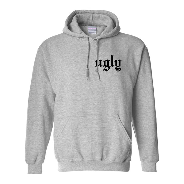 Ugly Olde English Chest Grey Womens Pullover Hoodie