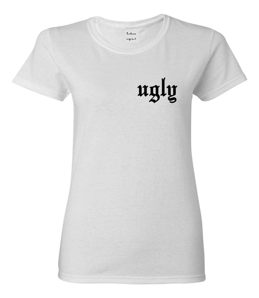 Ugly Olde English Chest White Womens T-Shirt