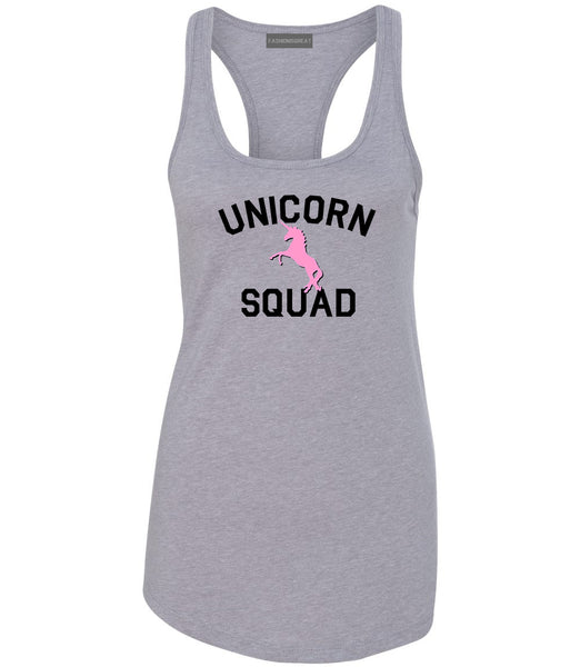 Unicorn Squad Funny Grey Womens Racerback Tank Top