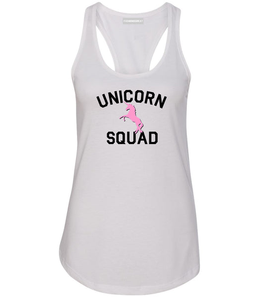 Unicorn Squad Funny White Womens Racerback Tank Top