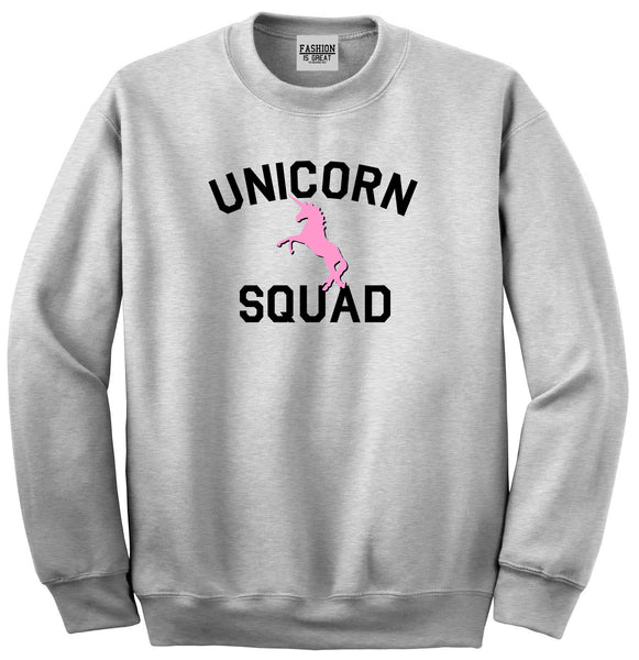 Unicorn Squad Funny Grey Womens Crewneck Sweatshirt