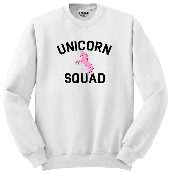 Unicorn Squad Funny White Womens Crewneck Sweatshirt