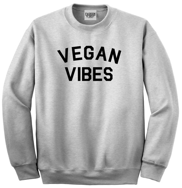 Vegan Vibes Vegetarian Grey Womens Crewneck Sweatshirt
