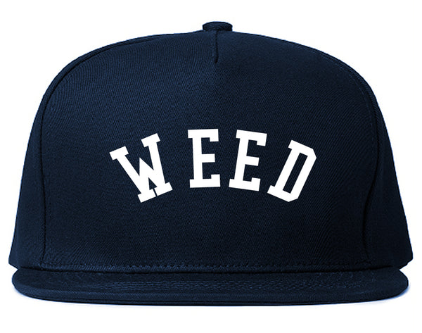 WEED Curved College Weed Snapback Hat Blue