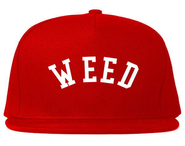WEED Curved College Weed Snapback Hat Red
