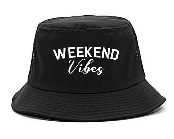 Weekend Vibes Party Black Bucket Hat
