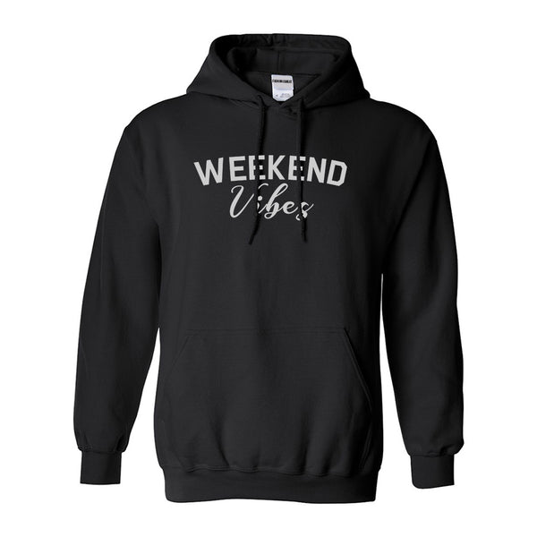 Weekend Vibes Party Black Pullover Hoodie