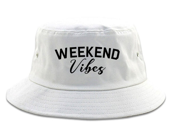 Weekend Vibes Party White Bucket Hat
