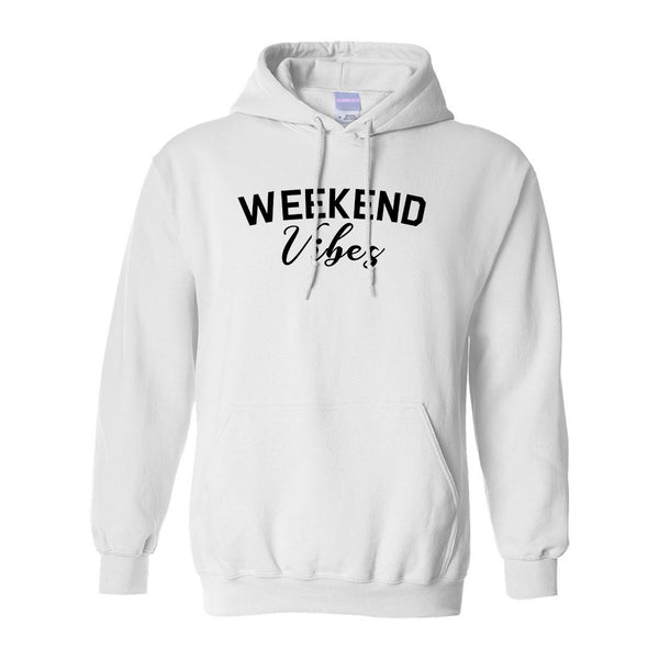 Weekend Vibes Party White Pullover Hoodie