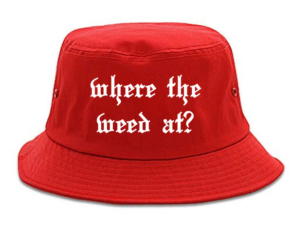 Where The Weed At Red Bucket Hat