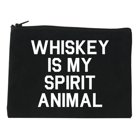 Whiskey Is My Spirit Animal Black Makeup Bag