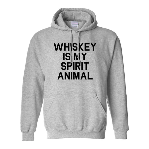 Whiskey Is My Spirit Animal Grey Pullover Hoodie
