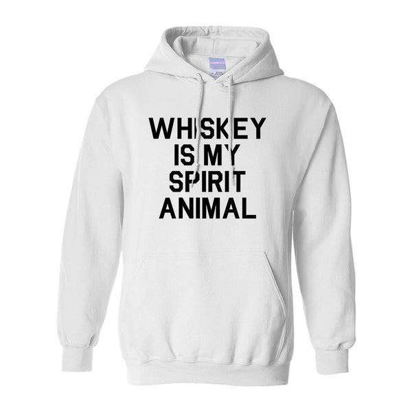 Whiskey Is My Spirit Animal White Pullover Hoodie