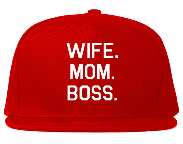 Wife Mom Boss Red Snapback Hat