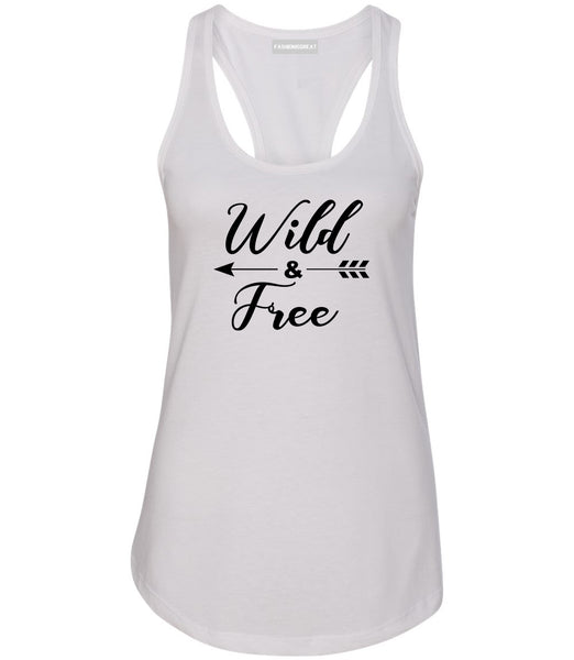 Wild And Free Arrow White Womens Racerback Tank Top