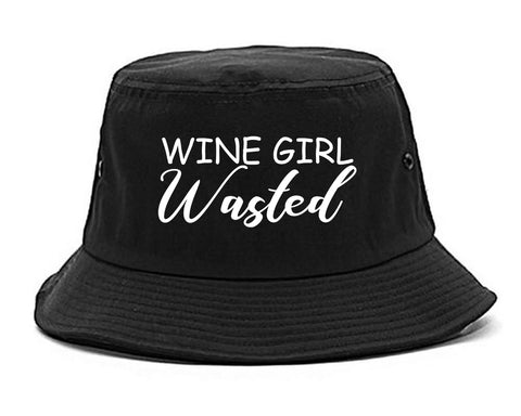 Wine Girl Wasted Funny Bachelorette Bridesmaid Black Bucket Hat