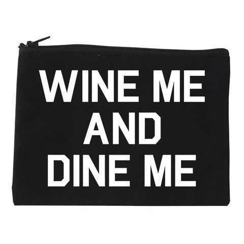 Wine Me And Dine Me Black Makeup Bag