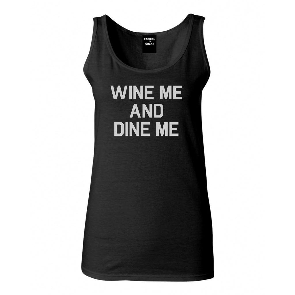 Wine Me And Dine Me Black Tank Top